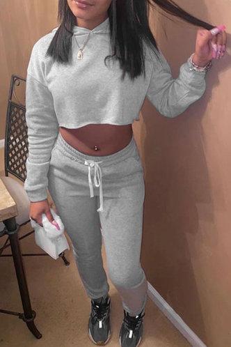 front_Plain Pocket Drawstring Light Grey Pants Set
