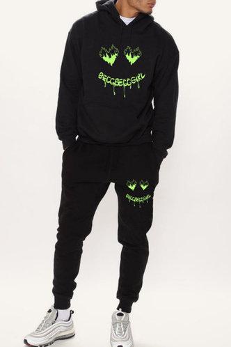 back_Street Chic Solid Color Black Men Pants Sets