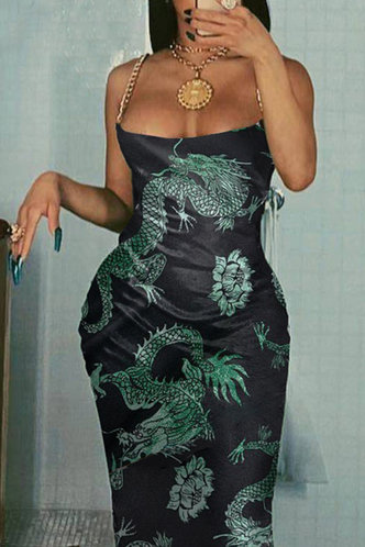 front_Hilda Montril Black And Green Chinese Dragon Print Cami Dress