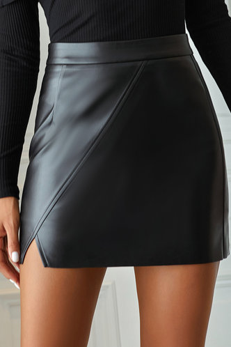front_Zarah Black Leather Skirt