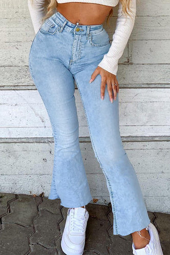 front_Mid Waist Flare Leg Wash Light Blue Women Jeans
