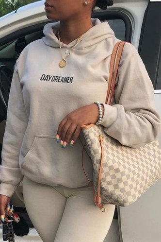 front_Casual Pocket Regular Fit Khaki Plus Size Sweatshirts & Hoodies