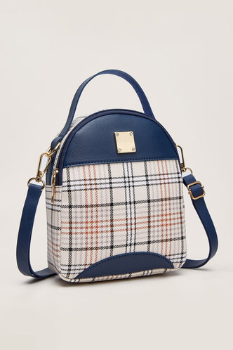 back_Thelma Emily Navy Blue And Plaid Bagpack