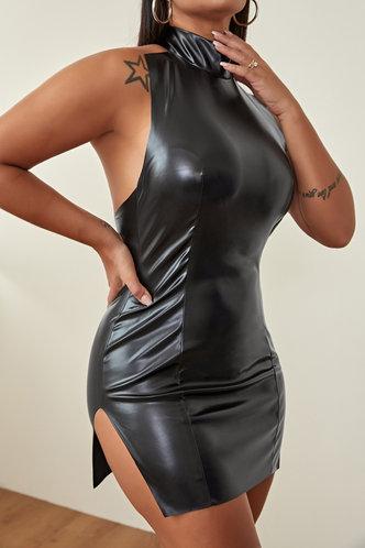 front_Lisbeth Elvira Black Split Hem Dress