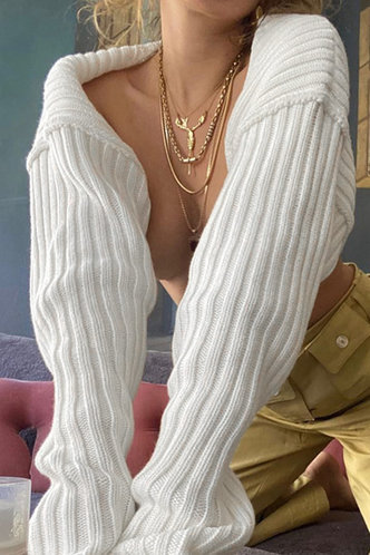 back_Camille Edwina White Shrug Sweater