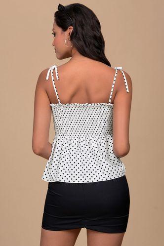 back_Peren Black And White Polka Dot Short Sleeve Top