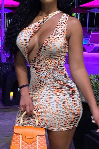 front_Bar/Nightclub Party Sleeveless One Shoulder Leopard Print All over print Dresses