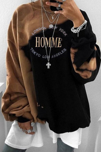 front_Ena Edith Brown And Black Sweatshirt