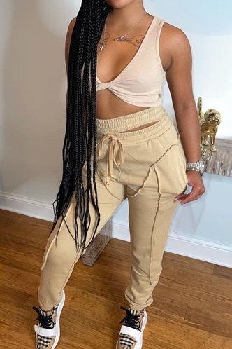 front_Mid Waist Plain Khaki Sweatpants