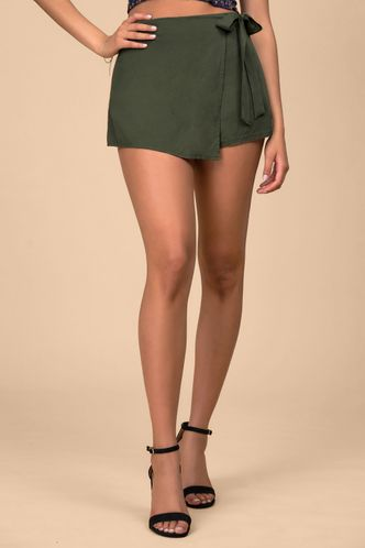 front_Town Road Army Green Shorts