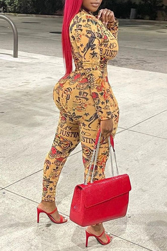 back_V Neck Other  conventional Pencil Pants Multi Print Jumpsuits