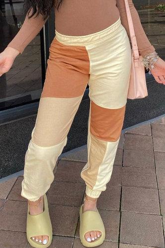 back_Mid Waist   Colorblock Sweatpants