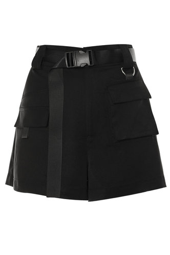 front_Utility Time Black Shorts