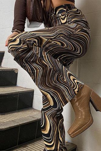 back_High Waist All Over Print Wide Leg Multicolor Pants
