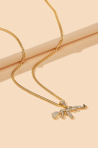 front_Rowena Elsie Gold Rhinestone Charm Necklace
