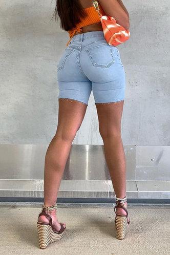 back_Cherry Jarum Wash Light Blue Denim Shorts