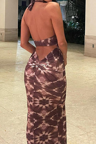 back_Daryl Elsie Brown Tie Dye Open Back Bodycon Dress