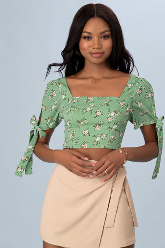 back_Sweet Promises Light Green Floral Print Short Sleeve Top