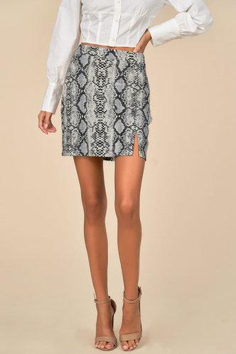 front_Temptress Snake Print Skirt