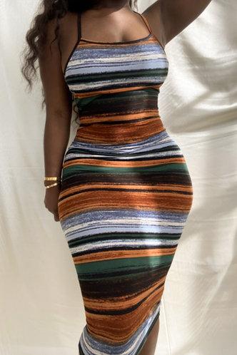 front_Rosalia Elva Colorful Striped Bodycon Cami Dress