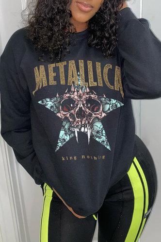 front_Casual Crew Neck Letter Graphic Black Sweatshirts & Hoodies