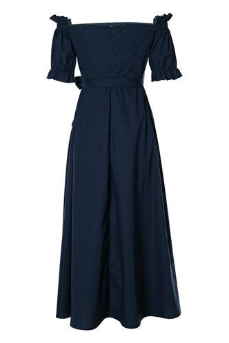 back_Vivien Navy Blue Belted Dress