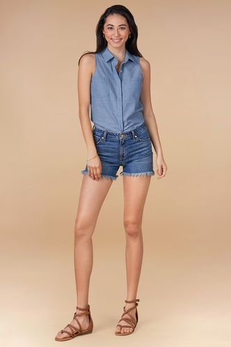 front_Rock of Ages Blue Chambray Top