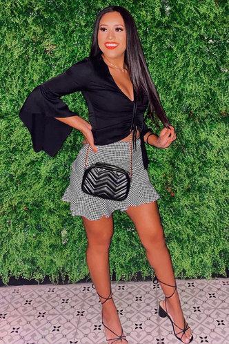 front_Gingham Style Black And White Gingham Mini Skirt