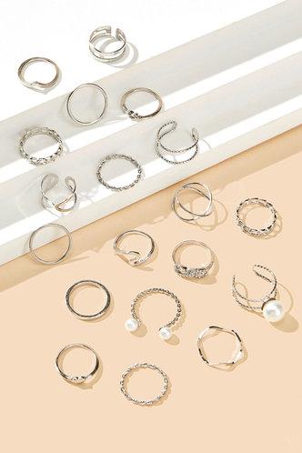 back_Jeanette Elma Sliver Faux Pearls Charm Ring 18pcs