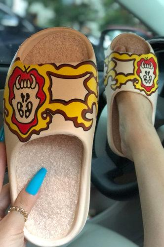 front_Cartoon   Flat Open Toe Beige Slides & Flip Flops