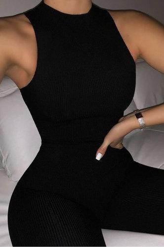 back_Pullover Black Pants Sets