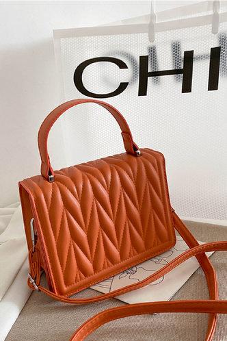 front_Eloisa Esther Orange Satchel Bag