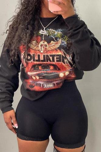front_Casual Crew Neck Mixed printing Black Sweatshirts & Hoodies