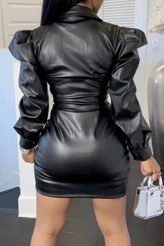 back_Casual Shirt Collar Plain Black Outerwear