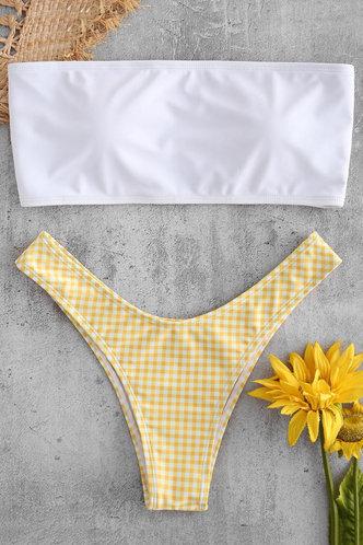 front_Margaret Edith White And Yellow Bikini
