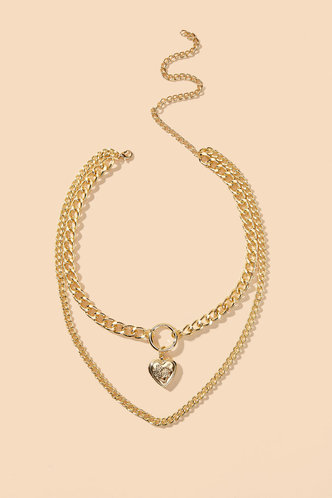 front_Lynn Edwina Gold Heart Layered Chain Necklace