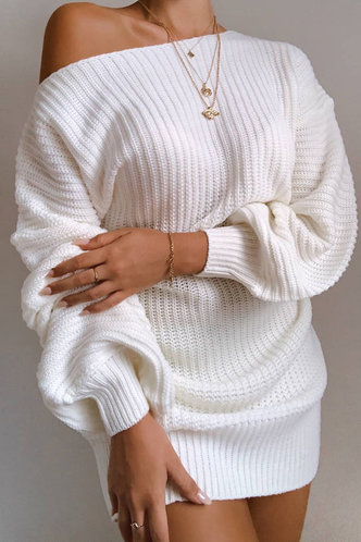 front_Napkin White Sweater Dress