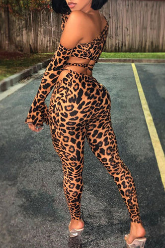 front_Animal Print Lace Up Pullover Leopard Print Pants Sets
