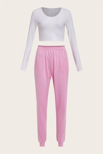 back_Color Block Pocket Pullover White And Pink Pants Set