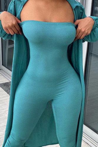 back_Dorothy Evangeline Blue Jumpsuit Without Cardigon