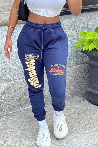 front_Mid Waist   Long   Blue Sweatpants