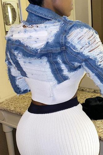 front_Mabel Eve Wash Blue Crop Denim Jacket