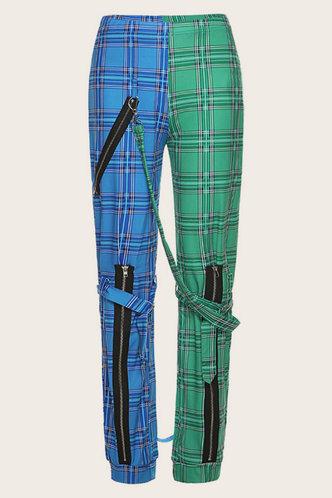 back_Estella Elma Blue And Green Plaid Pants