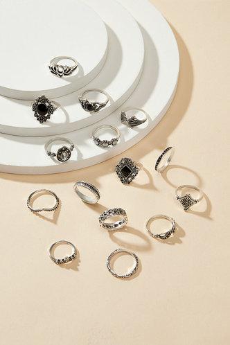 back_Starr Eleanore Sliver Rhinestone Decor Ring 15pcs