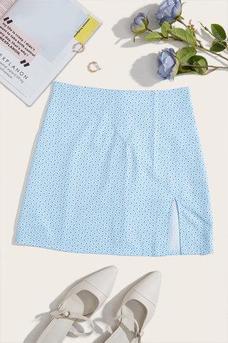 back_Lisbeth Elsie Blue Floral Print Split Hem Skirt