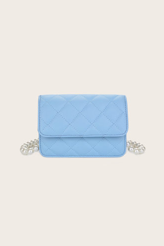 front_Casual Vacation Geometric Plain Button Baby Blue Crossbody Bags