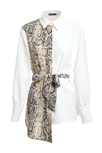front_Don't Look Back White And Snake Print Colorblock Shirt