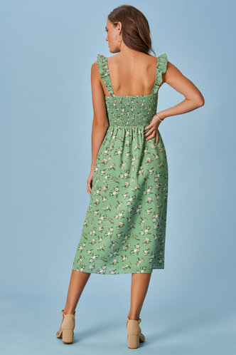 back_Daily Shopping Vacation Sleeveless Square Neck Light Green Floral Print Ditsy Floral All over print Dresses