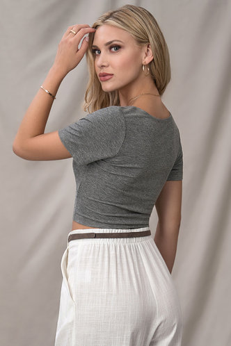 back_Adore You Dark Grey Short Sleeve Top