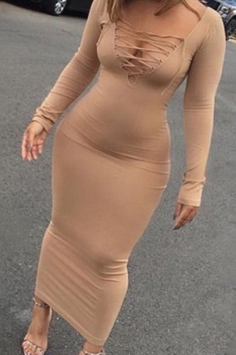 front_Plain  Khaki Maxi Dresses
